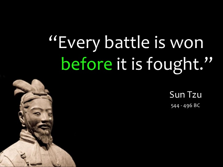 Sun Tzu Quote every battle is won before it is fought